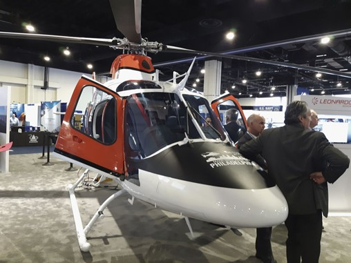 Seen at the Sea-Air-Space conference outside Washington, DC, in May 2019, the TH-119 has now become the TH-73A with the award of a US Navy contract to deliver 32 new helicopters to fulfil its TH-XX replacement requirement. (Jane's/Pat Host)