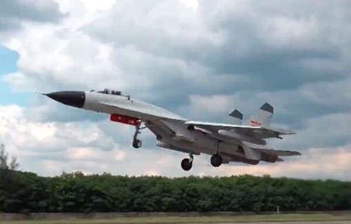 PLANAF J-11BH fighter seen using potentially new ECM pod
