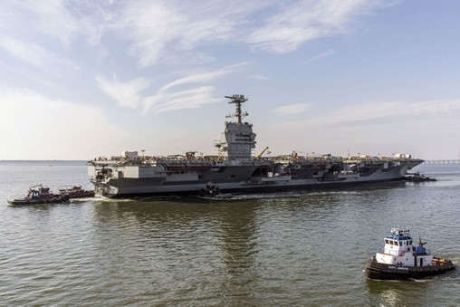 Aircraft carrier         <I&gtJohn F.Kennedy</I>         is on schedule for delivery in 2024. (Huntington Ingalls Industries)