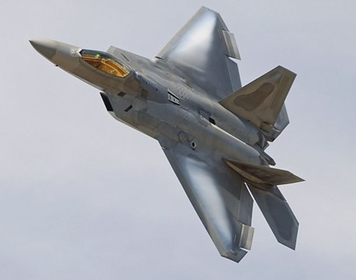 An F-22 Raptor took part in the US Air Force's ABMS demo in December. A budget expert predicts that the FY 2021 budget request for ABMS will be too small for the service to formally start the programme. (Lockheed Martin)