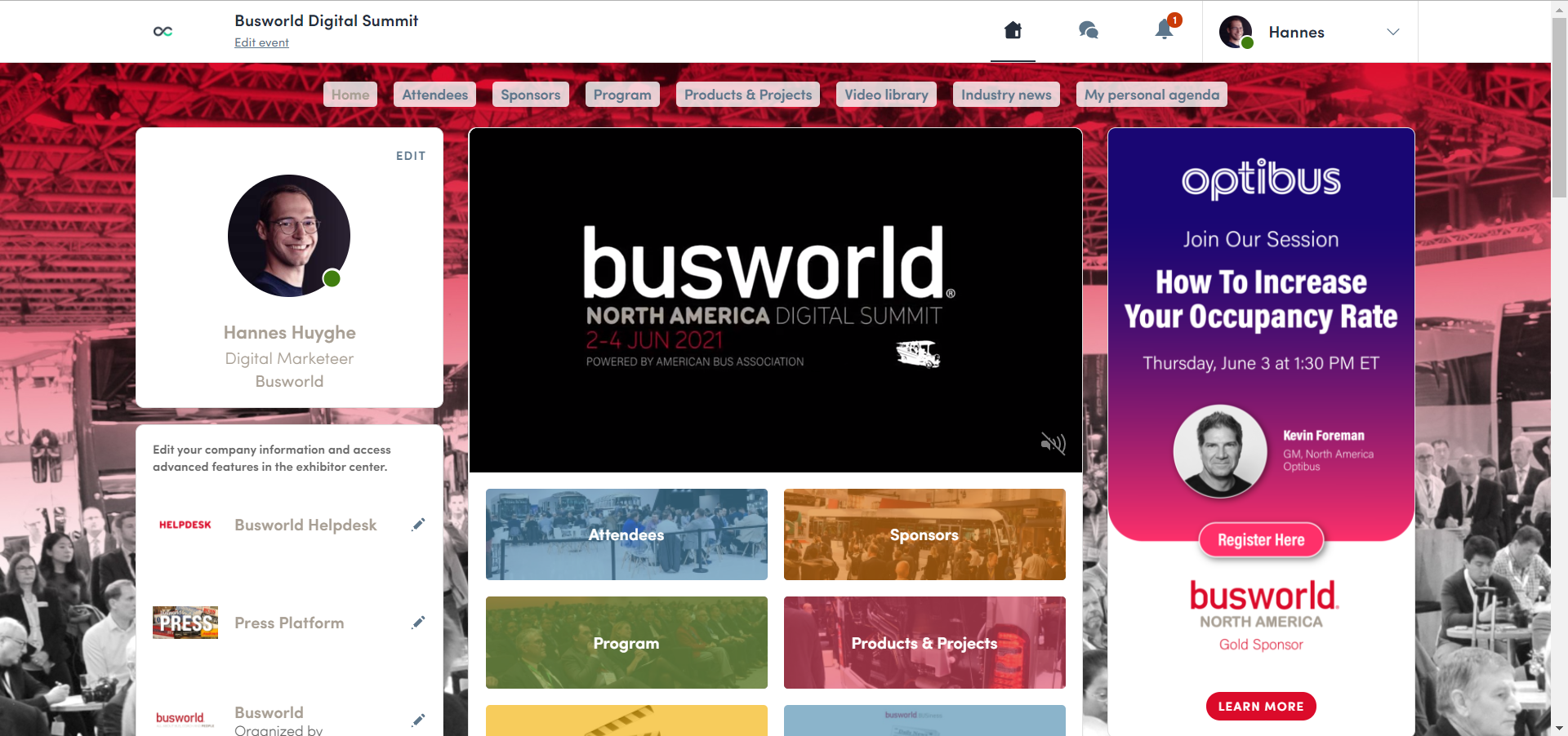 Busworld Digital Summit event platform home