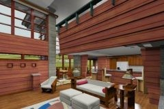 Interior dining and living area of custom Frank Lloyd Wright-inspired home designed by Michael Rust in Webb City, MO
