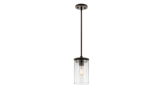 """Crosby 10.75"""" 1 Light Mini Pendant with Clear Glass Olde Bronze®"""