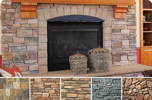 Stone fireplace featuring alternative stone swatches.