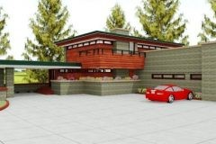 Front view of custom Frank Lloyd Wright-inspired home designed by Michael Rust in Webb City, MO