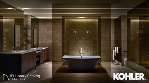 Master bathroom with stand-alone tub and kohler fixtures.