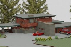 Aerial front view of custom Frank Lloyd Wright-inspired home designed by Michael Rust in Webb City, MO