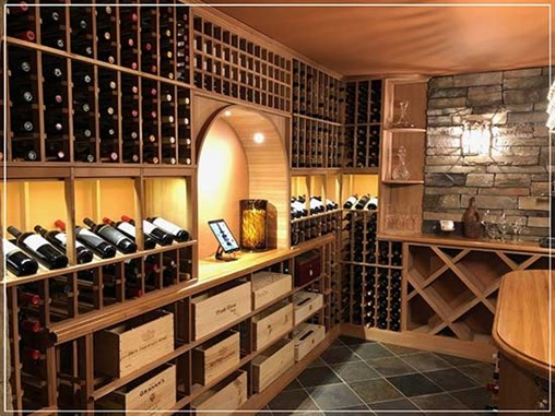 Lovely Wine Room Decked in Unstained All-Heart Redwood Racks