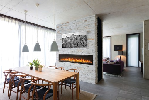 Napoleon Entice 72 Electric Fireplace with driftwood logs in a dining room