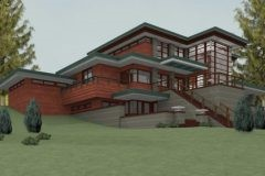 Rear view of custom Frank Lloyd Wright-inspired home designed by Michael Rust in Webb City, MO
