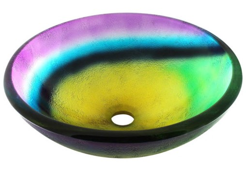 6-26-20 RTA2-Frosted Rainbow Glass Vessel Bathroom Sink