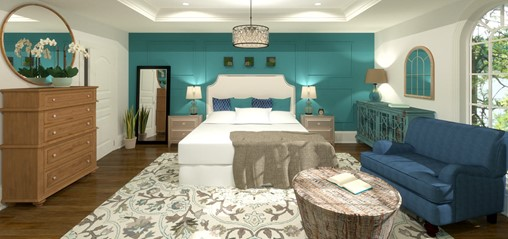 Master bedroom with blue accent wall and white bed.