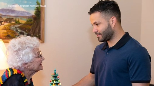 Jose Altuve Visits With Superfan Who Just Turned 100