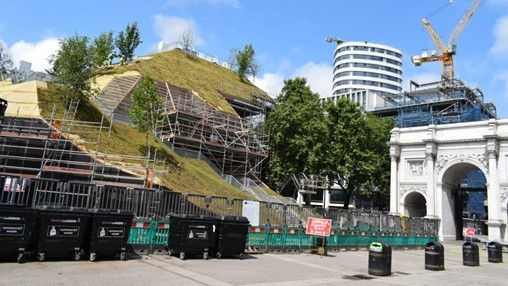MVRDV's artificial hill rises at Marble Arch in London