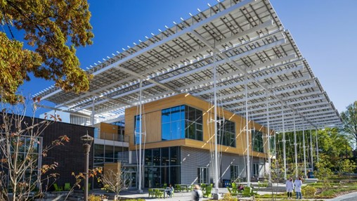 Giant photovoltaic canopy tops net-positive Kendeda Building in Atlanta